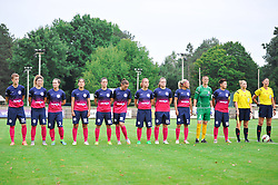 The Team of ZNK Teleing Pomurje during the UEFA Women's Champions League Qualifying Match between ZNK Teleing Pomurje (SLO) and Olimpia Cluj (ROU) at Sportni Park on August 16, 2015 in Beltinci, Slovenia. Photo by Mario Horvat / Sportida