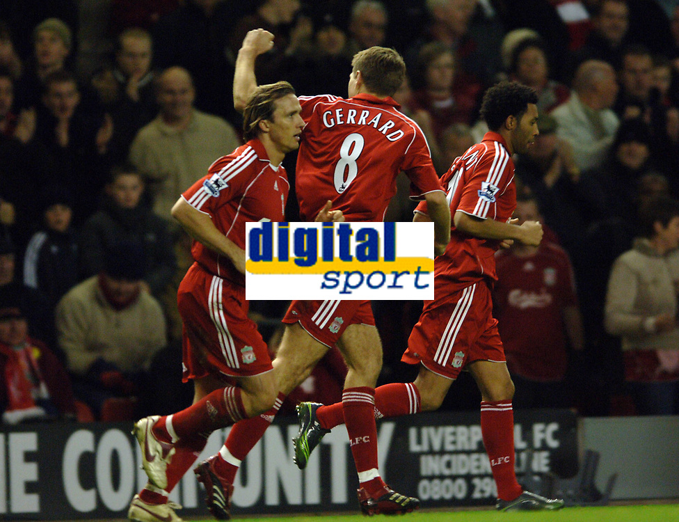 Photo: Paul Greenwood.<br />Liverpool v Manchester City. The Barclays Premiership. 25/11/2006. Liverpools Steven Gerrard (8) celebrates his goal with the Kop.