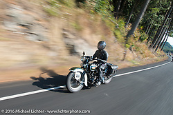 Sharon Jacobs riding her 1936 Harley-Davidson VLH during Stage 16 (142 miles) of the Motorcycle Cannonball Cross-Country Endurance Run, which on this day ran from Yakima to Tacoma, WA, USA. Sunday, September 21, 2014.  Photography ©2014 Michael Lichter.