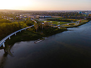 Aerial photograph of the MIssouri River between Council Bluffs, Iowa (left) and Omaha, Nebraska (right).