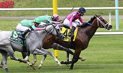 June 9, 2018 - Elmont, New York, U.S - Hall of Fame jockey VICTOR ESPINOZA temporarily in the lead aboard CONQUEST TSUNAMI in the Jaipur Invitational on Belmont Stakes day at Belmont Park. However, they took second place in the Jaipur to DISCO PARTNER (IRAD ORTIZ JR.), seen at lower left. Later that day, in the Belmont Stakes, Mike Smith aboard Justify became the first Triple Crown winner since Victor Espinoza and American Pharoah did it here in 2015. (Credit Image: © Staton Rabin via ZUMA Wire)