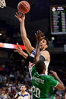 Real Madrid's Gustavo Ayon and Unicaja Malaga's Oliver Lafayette during semi finals of playoff Liga Endesa match between Real Madrid and Unicaja Malaga at Wizink Center in Madrid, May 31, 2017. Spain.<br /> (ALTERPHOTOS/BorjaB.Hojas)