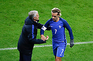 Antoine Griezmann (FRA) greated by Didier Deschamps (FRA) during the 2017 Friendly Game football match between France and Wales on November 10, 2017 at Stade de France in Saint-Denis, France - Photo Stephane Allaman / ProSportsImages / DPPI