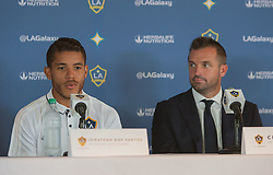 July 28, 2017 - Carson, California, U.S - Jonathan dos Santos is presented to the media during a  press conference after joining the L.A. Galaxy at StubHub  Center in Carson, California on Friday, July 28, 2017.  (L)  Jonathan dos Santos and L.A. Galaxy president Chris  Klein. (Credit Image: © Prensa Internacional via ZUMA Wire)