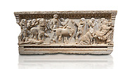 Roman relief sculpted sarcophagus of Achilles from Attica. This side shows scenes from the life of Achilles and bears characteristics of the Late Antonines Period of the Roman Imperial Period between 170-190 AD. Adana Archaeology Museum, Turkey. Against a white background .<br /> <br /> If you prefer to buy from our ALAMY STOCK LIBRARY page at https://www.alamy.com/portfolio/paul-williams-funkystock/greco-roman-sculptures.html . Type -    Adana     - into LOWER SEARCH WITHIN GALLERY box - Refine search by adding a subject, place, background colour, museum etc.<br /> <br /> Visit our ROMAN WORLD PHOTO COLLECTIONS for more photos to download or buy as wall art prints https://funkystock.photoshelter.com/gallery-collection/The-Romans-Art-Artefacts-Antiquities-Historic-Sites-Pictures-Images/C0000r2uLJJo9_s0