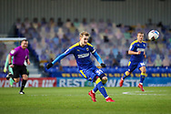 AFC Wimbledon striker Joe Pigott (39) shoots at goal during the EFL Sky Bet League 1 match between AFC Wimbledon and Lincoln City at Plough Lane, London, United Kingdom on 2 January 2021.