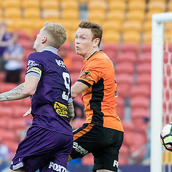 BRISBANE, AUSTRALIA - OCTOBER 30: Corey Brown of the roar defends against Andy Keogh of the Glory during the round 4 Hyundai A-League match between the Brisbane Roar and Perth Glory at Suncorp Stadium on October 30, 2016 in Brisbane, Australia. (Photo by Patrick Kearney/Brisbane Roar)