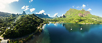 Panoramic aerial view of Cooks Bay, Moorea, Windward Islands, French Polynesia