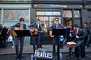 A Beatles copy band plays in the street to a loving crowd. Columbia Road flower market is held every Sunday and it attracts shoppers from afar. The huge variety in plants and flowers makes it a popular place to shop and the banter between the traders and the quick deals there is to be made makes it a very entertaining place to go.