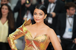 File photo dated May 19, 2019 of Aishwarya Rai arriving on the red carpet of 'A Hidden Life (Une Vie Cachee)' screening held at the Palais Des Festivals in Cannes, France as part of the 72th Cannes Film Festival. Aishwarya Rai Bachchan has been taken to hospital after testing positive for Covid-19 earlier this week. The Indian actress, a former Miss World and one of Bollywood's most famous faces, is being treated at Mumbai's Nanavati Hospital, it was reported. her daughter Aaradhya has also been taken to hospital. Photo by Nicolas Genin/ABACAPRESS.COM