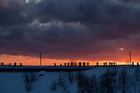 Photographers line up at dawn at popular Reinehalsen viewpoint, Reine, Moskenesøy, Lofoten Islands, Norway