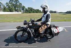 Steve Rinker of West Virginia riding his 1916 Indian during the Motorcycle Cannonball Race of the Century. Stage-1 from Atlantic City, NJ to York, PA. USA. Saturday September 10, 2016. Photography ©2016 Michael Lichter.