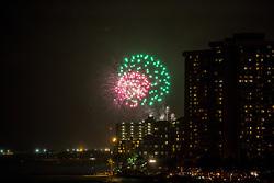 Fireworks Along Waikiki Beach
