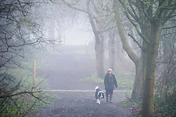 ©Licensed to London News Pictures 01/01/2020<br /> Sidcup ,UK. An early morning dog walker in the misty fog. New years day foggy weather at Footscray Meadows in Sidcup, South East London this morning.Photo credit: Grant Falvey/LNP