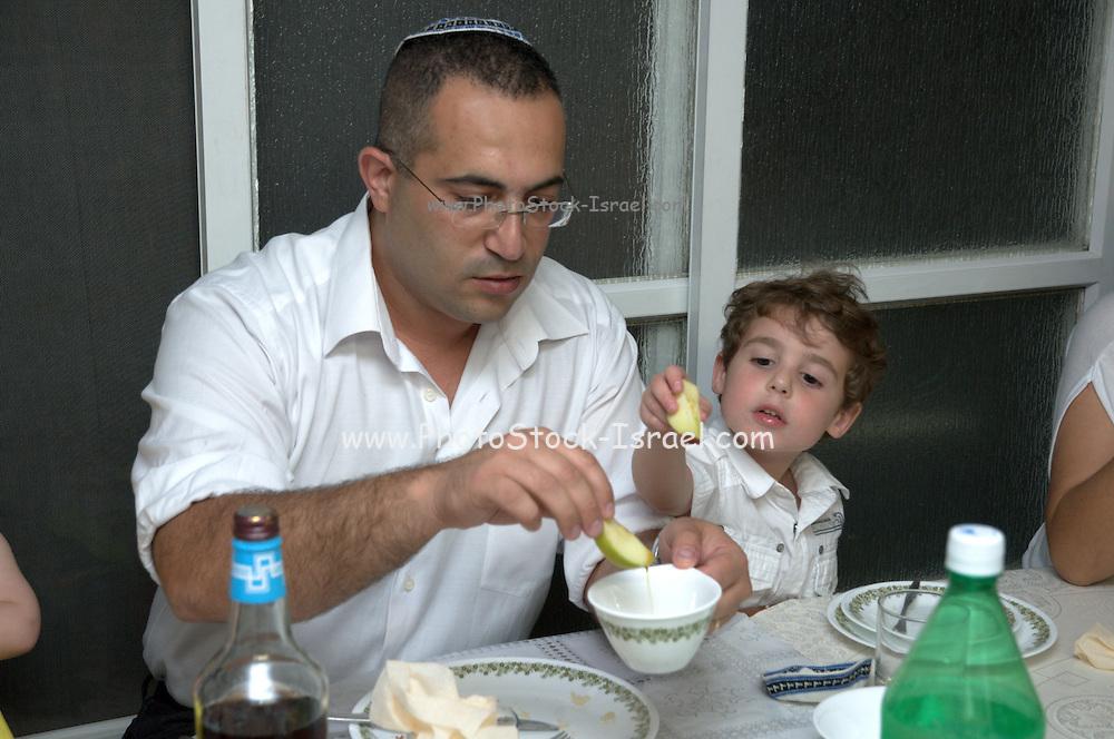 Jewish Rosh Hashana ceremony apple dipped in honey