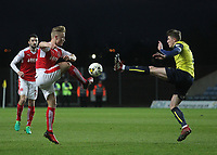Fleetwood Town's Kyle Dempsey clashes with Oxford United's John Lundstram<br /> <br /> Photographer Mick Walker/CameraSport<br /> <br /> The EFL Sky Bet League One - Oxford United v Fleetwood Town - Wednesday 5th April 2017 - Kassam Stadium - Oxford<br /> <br /> World Copyright © 2017 CameraSport. All rights reserved. 43 Linden Ave. Countesthorpe. Leicester. England. LE8 5PG - Tel: +44 (0) 116 277 4147 - admin@camerasport.com - www.camerasport.com