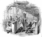 Broadwood's piano factory, Horseferry Road, Westminster, London. Woodcut, 1842.