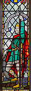 Stained glass window of King Alfred the Great, Pewsey church , Wiltshire, England, UK c 1924 G.E.R. Smith