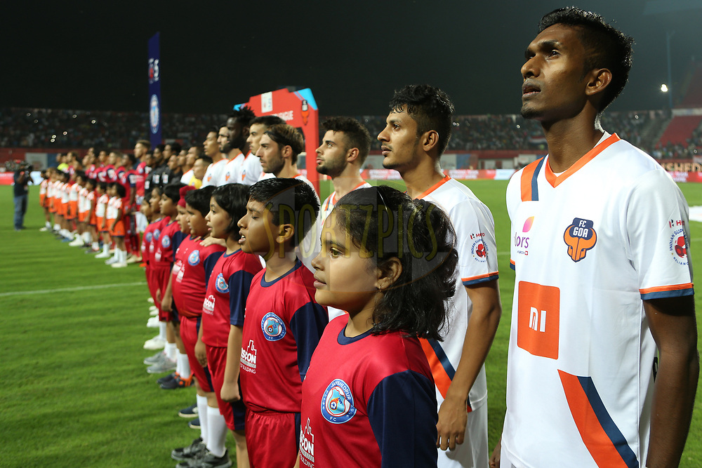 Players line up for the national anthem during match 25 of the Hero Indian Super League 2018 ( ISL ) between Jamshedpur FC and FC Goa held at JRD Tata Sports Complex, Jamshedpur, India on the 1st November  2018<br /> <br /> Photo by: Ron Gaunt /SPORTZPICS for ISL
