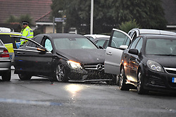 © Licensed to London News Pictures. 11/10/2018. London, UK.  The scene in Uxbridge Road, Hayes where a man is believed to have been shot. It is being reported that police were called at 14:43 after a passenger in a silver Mercedes, was shot. The victim died at the scene.  Photo credit: Ben Cawthra/LNP