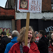 A pro-life supporter shouts anti-abortion slogans during a rally throughout Dublin City centre, on March 10, 2018.