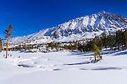 Rock Creek and Mount Morgan in winter, John Muir Wilderness, Sierra Nevada Mountains, California  USA