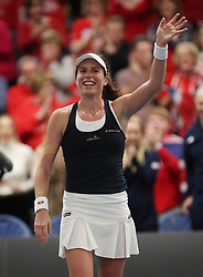Great Britain's Johanna Konta celebrates her victory over Maria Sakkari during day two of the Fed Cup at Bath University.