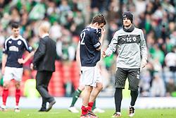 Falkirk's Thomas Grant at the end..Hibernian 4 v 3 Falkirk, William Hill Scottish Cup Semi Final, Hampden Park...