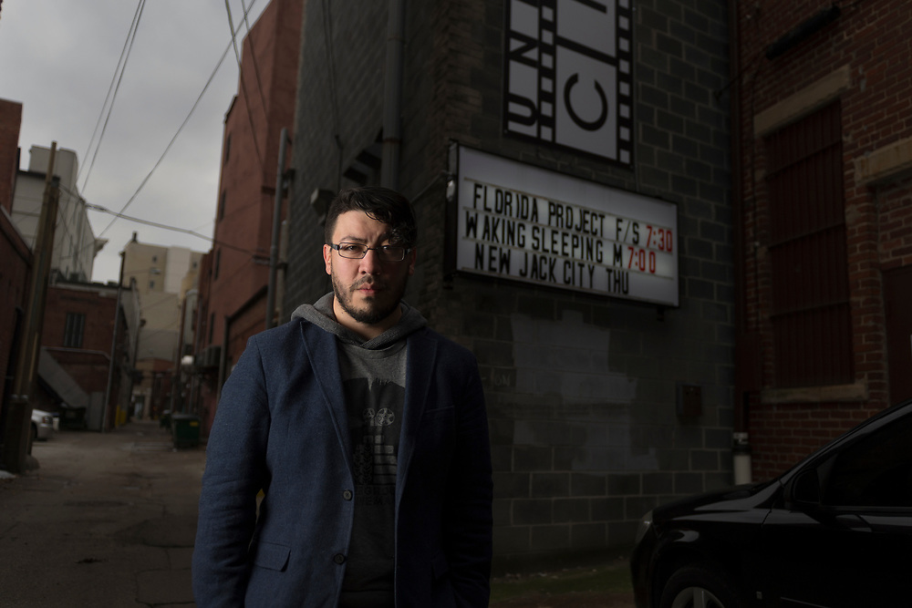 Rafael Barker poses for a portrait outside of Underground Cinema in Charleston, W.Va., on Friday, December 08, 2017.