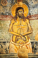 Byzantine fresco of Christ on the cross in the church of  Saint Nicolas.   Mystras ,  Sparta, the Peloponnese, Greece. A UNESCO World Heritage Site .<br /> <br /> Visit our GREEK HISTORIC PLACES PHOTO COLLECTIONS for more photos to download or buy as wall art prints https://funkystock.photoshelter.com/gallery-collection/Pictures-Images-of-Greece-Photos-of-Greek-Historic-Landmark-Sites/C0000w6e8OkknEb8 <br /> .<br /> <br /> Visit our BYZANTINE ART PHOTO COLLECTION for more   photos  to download or buy as prints https://funkystock.photoshelter.com/gallery-collection/Roman-Byzantine-Art-Artefacts-Antiquities-Historic-Sites-Pictures-Images-of/C0000lW_87AclrOk