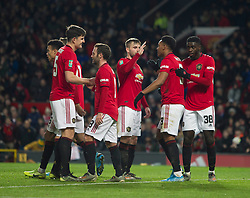 Anthony Martial of Manchester United (2nd R) celebrates scoring his sides third goal - Mandatory by-line: Jack Phillips/JMP - 18/12/2019 - FOOTBALL - Old Trafford - Manchester, England - Manchester United v Colchester United - English League Cup Quarter Final