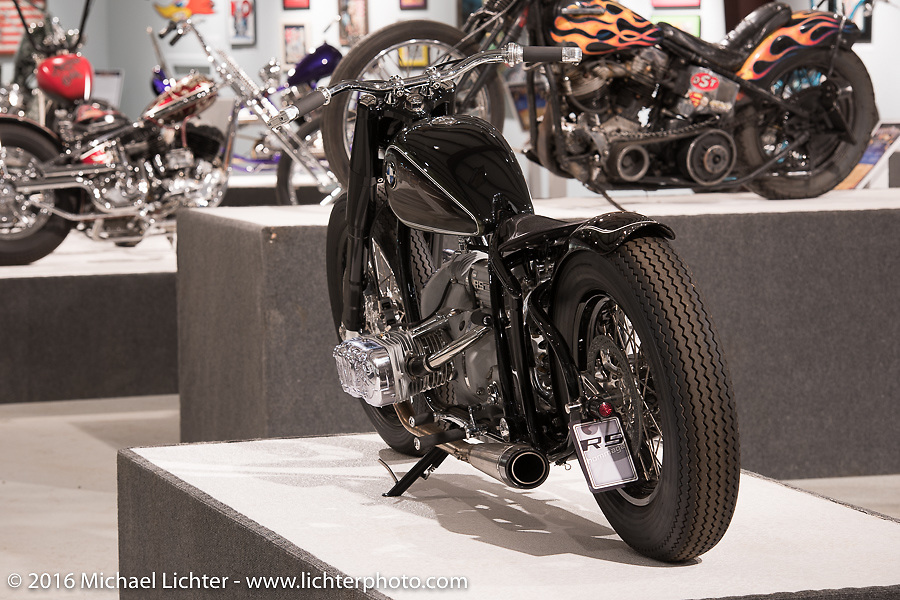 R5 Hommage, a one-off tribute to the original R5 built by Unique Custom Cycles in Sweden for BMW Motorrad in Michael Lichter's Skin & Bones tattoo inspired Motorcycles as Art show at the Buffalo Chip Gallery during the annual Sturgis Black Hills Motorcycle Rally. SD, USA. August 10, 2016. Photography ©2016 Michael Lichter.