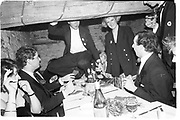 Tom Marriott, George Cazenove, and Edward Sale. The Geebung Polo Club Not the May Ball. Oxpens Barn. Nr. cheltenham. 5 December 1987. Film 871027f3.<br />© Copyright Photograph by Dafydd Jones<br />66 Stockwell Park Rd. London SW9 0DA<br />Tel 0171 733 0108