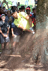 September 21, 2018 - Atlanta, GA, U.S. - ATLANTA, GA - SEPTEMBER 21: Rickie Fowler hits from the rough on the tenth hole during the second round of the PGA Tour Championship on September 21, 2018, at East Lake Golf Club in Atlanta, GA. (Photo by Michael Wade/Icon Sportswire) (Credit Image: © Michael Wade/Icon SMI via ZUMA Press)