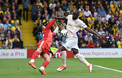 Manchester United's Romelu Lukaku (right) scores his side's first goal of the game