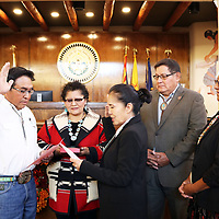 Chief Justice JoAnn Jayne delivered the oath of office this morning to Jimmy Yellowhair to serve as the Navajo Nation Council Delegate for Black Mesa, Forest Lake, Hardrock, Pinon, and Whippoorwill Chapters for the remainder of the 23rd Navajo Nation Council term.