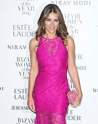 Elizabeth Hurley attending the Harper's Bazaar Woman of the Year awards at Claridges in London. Picture date: Monday October 31, 2016. Photo credit should read: Isabel Infantes / EMPICS Entertainment.