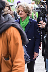 London, UK. 14 June, 2019. Cllr Elizabeth Campbell, Leader of the Council of the Royal Borough of Kensington and Chelsea arrives to attend a memorial service at St Helen's Church to mark the second anniversary of the Grenfell Tower fire on 14th June 2017 in which 72 people died and over 70 were injured.