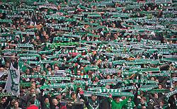 01.03.2014, Weserstadion, Bremen, GER, 1. FBL, SV Werder Bremen vs Hamburger SV, 23. Runde, im Bild Bremer Fans beim Zeigen des Werder-Schals // Bremer Fans beim Zeigen des Werder-Schals during the German Bundesliga 23th round match between SV Werder Bremen and Hamburger SV at the Weserstadion in Bremen, Germany on 2014/03/02. EXPA Pictures © 2014, PhotoCredit: EXPA/ Andreas Gumz<br /> <br /> *****ATTENTION - OUT of GER*****