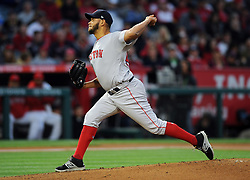 April 19, 2018 - Anaheim, CA, U.S. - ANAHEIM, CA - APRIL 19: Boston Red Sox pitcher Eduardo Rodriguez (57) in action during the first inning of a game against the Los Angeles Angels of Anaheim played on April 19, 2018 at Angel Stadium of Anaheim in Anaheim, CA. (Photo by John Cordes/Icon Sportswire) (Credit Image: © John Cordes/Icon SMI via ZUMA Press)
