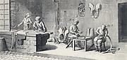 Saddler's workshop.  From Diderot 'Encyclopedie' c1751.