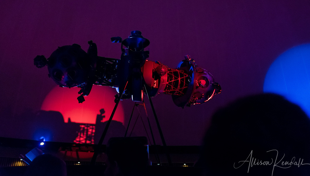 Detail of the Winnipeg Planetarium interior during a musical performance by Mariachi Ghost