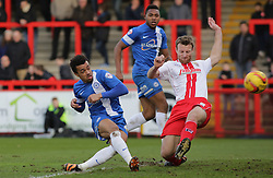 Peterborough United's Nicky Ajose scores the only goal of the game - Photo mandatory by-line: Joe Dent/JMP - Tel: Mobile: 07966 386802 22/02/2014 - SPORT - FOOTBALL - Stevenage - Broadhall Way - Stevenage v Peterborough United - Sky Bet League One