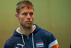 07-05-2019 NED: Press moment national volleyball team Men, Arnhem<br /> Roberto Piazza, the new national coach of the Dutch men's team, gives an overview of the group matches of the Golden European League, the OKT and the European Championship played in their own country / Thijs ter Horst