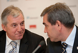 Iztok Rems and Roman Volcic of KZS at Eurobasket 2013 Candidate presentation of Slovenia at FIBA EUROPE Board on December 05, 2010 in Munich, Germany. The Board decided that Eurobasket 2013 will be held in Slovenia. (Photo By Vid Ponikvar / Sportida.com)
