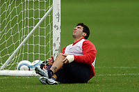 Photo: Javier Garcia/Digitalsport<br /> 01/11/2004 Arsenal Champions League Training, London Colney<br /> Jose Antonio Reyes, already struggling with an injured wrist, suffers an injury scare to his left knee during training
