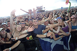 Fans in the crowd as Coldplay plays the main stage at T in the Park 8th July 2001...