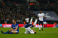 Christian Eriksen of Tottenham Hotspur (c) celebrates  after he scores his teams 4th goal. <br /> Premier league match, Tottenham Hotspur v Everton at Wembley Stadium in London on Saturday 13th January 2018.<br /> pic by Kieran Clarke, Andrew Orchard sports photography.