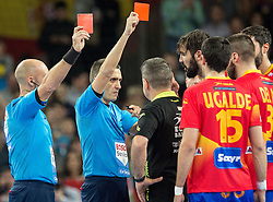 Jorge Maqueda of Spain hit Steffen Weinhold of Germany in the face and got red card by referees during handball match between National teams of Spain and Germany on Day 2 in Preliminary Round of Men's EHF EURO 2016, on January 15, 2016 in Centennial Hall, Wroclaw, Poland. Photo by Vid Ponikvar / Sportida