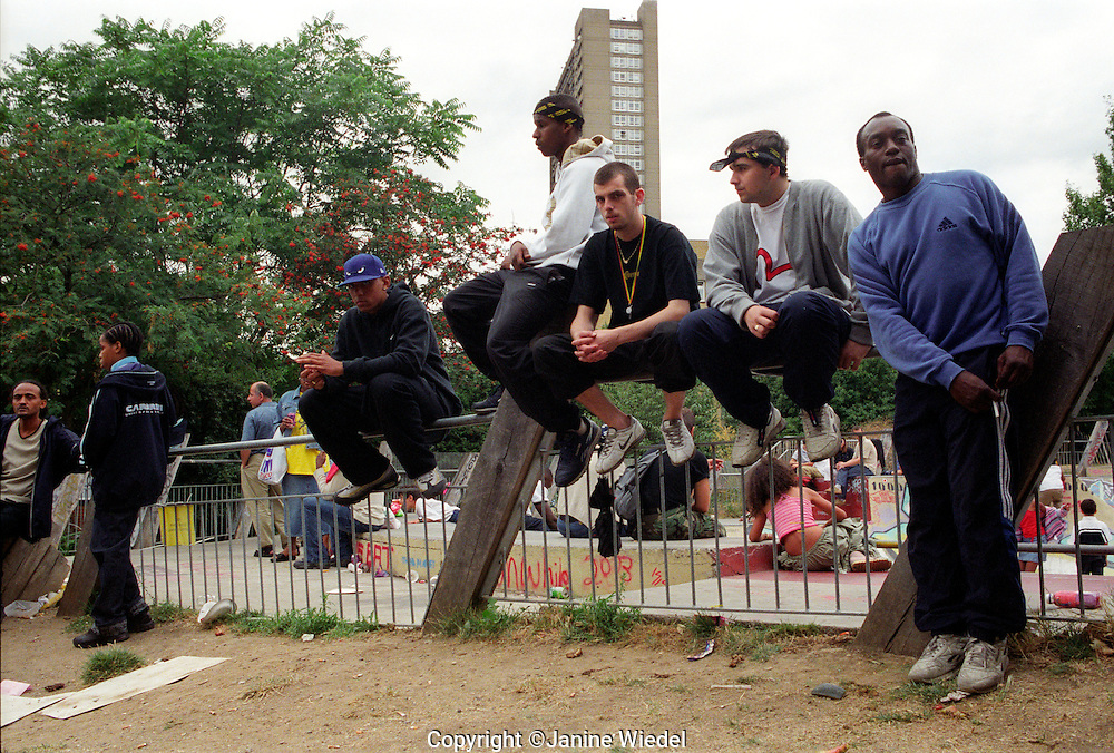 teenaged youth hanging around park in west London.
